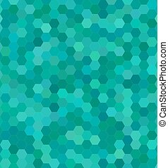 Teal color hexagon mosaic background design - Teal color...