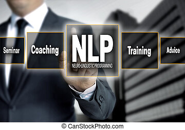 NLP touchscreen is operated by businessman.