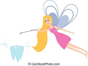 Tooth fairy with a magic wand.