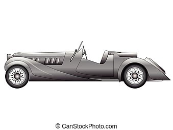Old classic race car - Illustration of the old classic race...