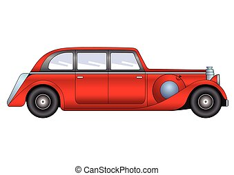 Vintage model of car - sedan - Illustration of the sedan -...