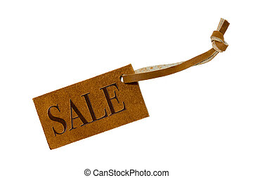 Leather price tag isolated on white background with clipping...