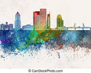 Portland V2 skyline in watercolor background - Portland...