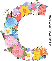 Fashion alphabet from lovely flowers of daffodils, roses,...