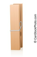 Wooden Clothespin - Wooden clothespin. Isolated vector...