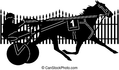 trotter horse racing - Illustration silhouette of great...