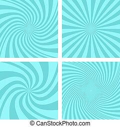 Cyan color spiral background design set - Cyan color vector...
