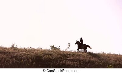 Horseman moving in slo-mo. Horse rider in the distance....