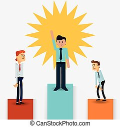 businessman on top of podium icon - flat design businessman...