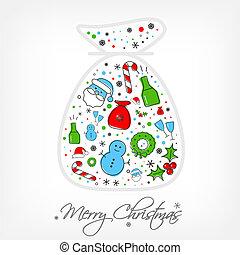 Christmas icons bag - Christmas icon set inside of santa...