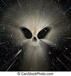 Universe alien threats - Conceptual image about the universe...
