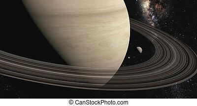 planeta, saturno, con, anillos