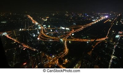 Cityscape, Expressway with light of - Bangkok, Thailand -...