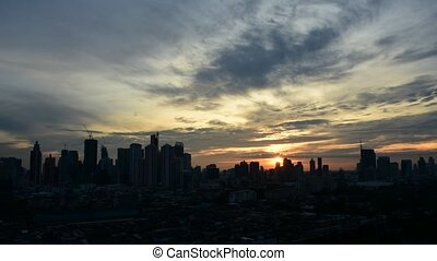 Cityscape and transportation in eve - Bangkok, Thailand -...
