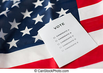 empty ballot or vote on american flag - voting, election and...
