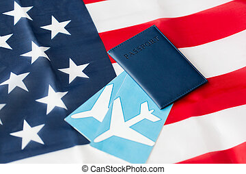 american flag, passport and air tickets - travel, tourism,...