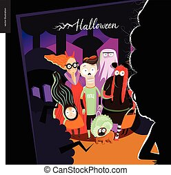 Happy Halloween greeting card with lettering Vector cartoon...