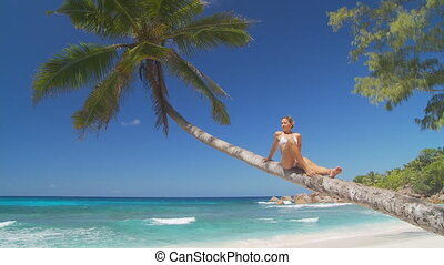 woman relaxing on palmtree - woman on palmtree relaxing