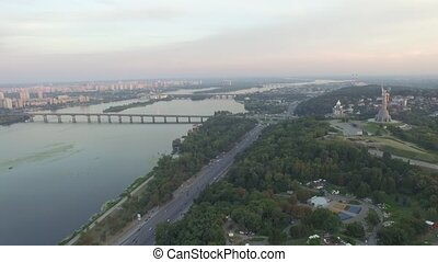 Panorama of Kiev, Ukraine. Mother Motherland. Aerial view. -...