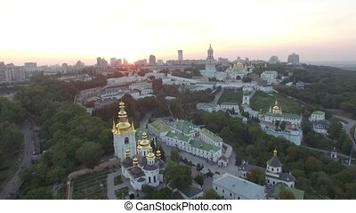 Aerial view of Kiev-Pechersk Lavra monastery, Ukraine. Video...