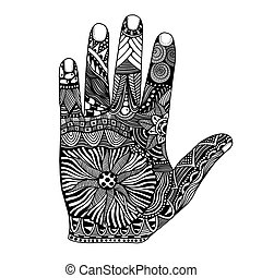 palm hand drawn zentangle - Monochrome Floral palm, hand...