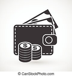 Wallet with money and coins icon