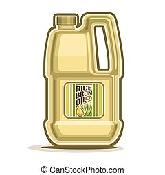 Rice Bran Oil container - Vector logo big yellow plastic...