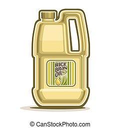 Rice Bran Oil container - Vector logo big yellow plastic...