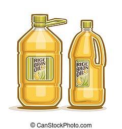 Rice Bran Oil Bottles - Vector logo 2 big yellow plastic...