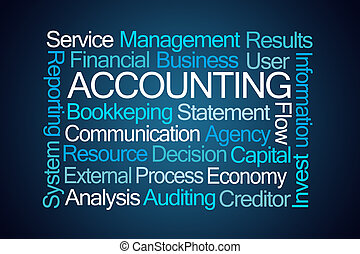 Accounting Word Cloud on Blue Background