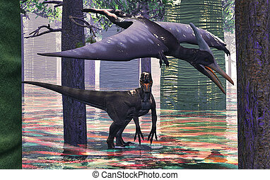 Velociraptor, y, Pterodáctilo, 3D, interpretación