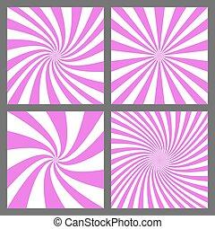 Magenta spiral and ray burst background set - Magenta spiral...
