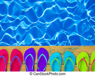 Slippers by the pool side - Multi-colored slippers by the...