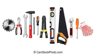 Work tools - Various work tools on white background