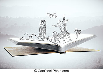 Travel concept - Open book with abstract sketch of landmarks...