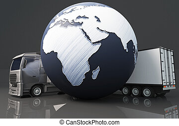 Truck with abstract globe