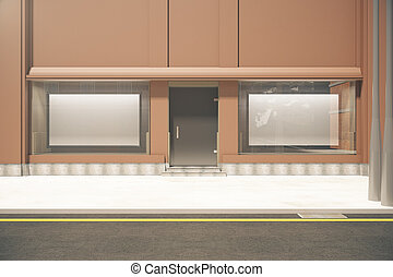 Storefront with billboards - Front view of storefront with...