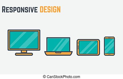 Thick line responsive design - Thick and thin lines icons of...