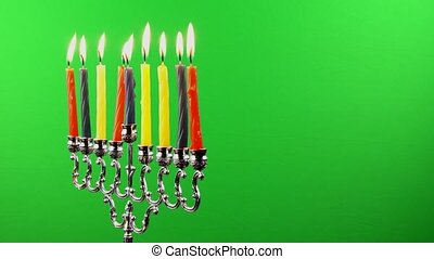 Hanukkah menorah candles greenscree - Hanukkah menorah with...