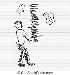 Doodle sketch of a man carrying paperwork on paper background