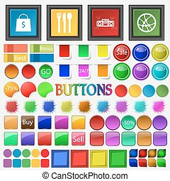 Bag , knife , fork, spoon , tape , basketball icon. Big set buttons for your site. Vector