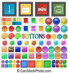 Sword plate sale , speedometer , printer icon. Big set buttons for your site. Vector