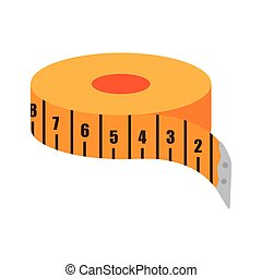 yellow tape measure. ruler precision instrument vector...