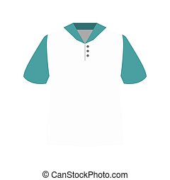 white polo shirt with blue sleeves and buttons. vector...