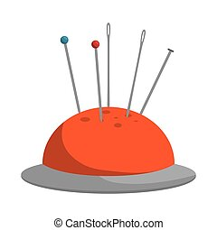 pincushion with pins and needle - orange pincushion with...