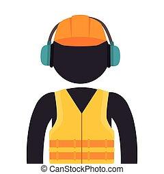 worker wearing industrial security equipment - worker...