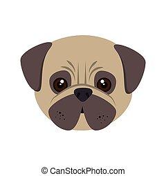 pug dog cartoon - pug breed dog canine pet animal. puppy...