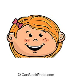 girl kid cartoon smiling - girl kid cartoon face smiling...