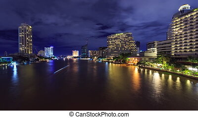Time-Lapse River Boats & Ferries - BANGKOK, THAILAND -...
