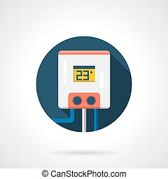 Hot-water tank round color flat vector icon - Water tank or...